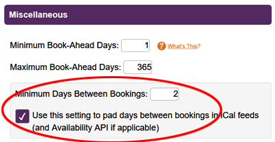 Minimum Days Between Bookings Setting
