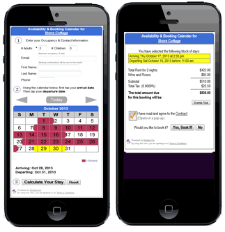 Mobile Online Booking Calendar