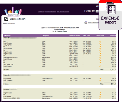 Vacation Rental Expense Report