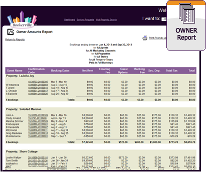 Vacation Rental Owner Report
