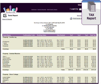 Vacation Rental Vacation Rental Tax Report