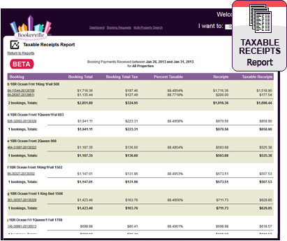 Vacation Rental Taxable Receipts Report