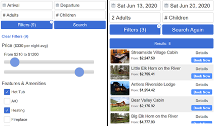 Vacation Rental Availability Search Bar