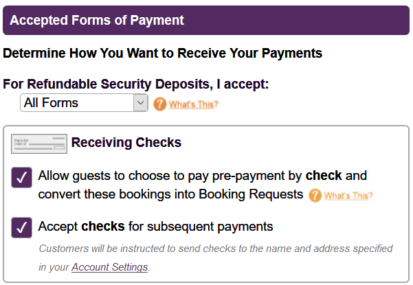 Vacation Rental Accept Checks, Vacation Rental Pay By Check Setup