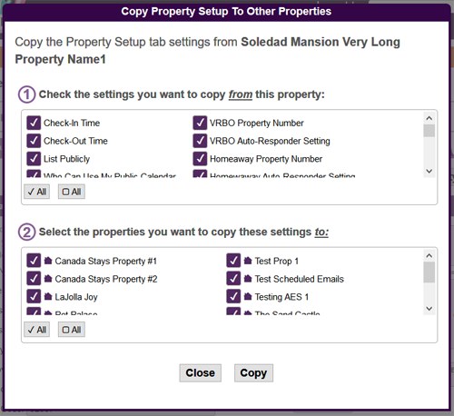 Vacation Rental Copy Settings To Other Properties Popup Menu